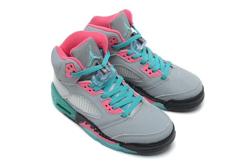 2015 Air Jordan 5 Retro Grey Pink Green Shoes For Women