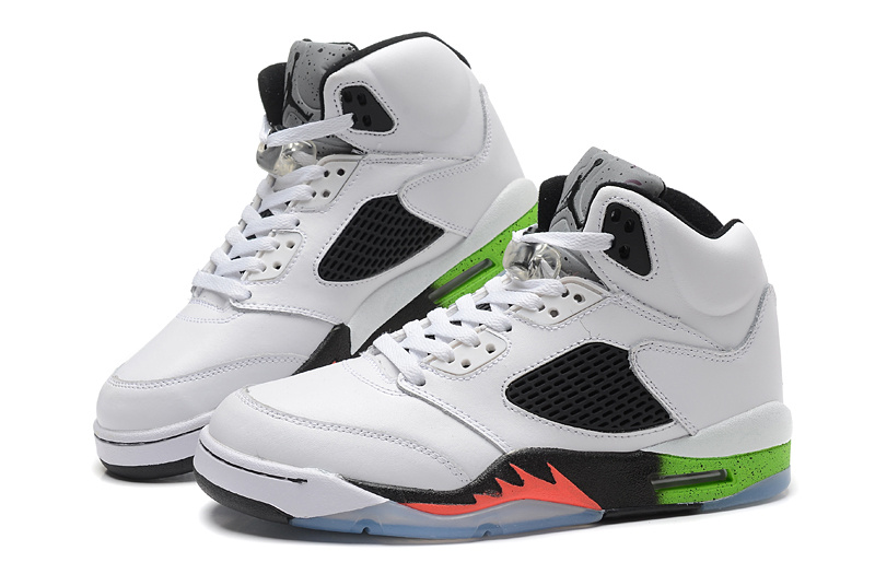 New Air Jordan Retro 5 White Black Green Orange Fire Shoes