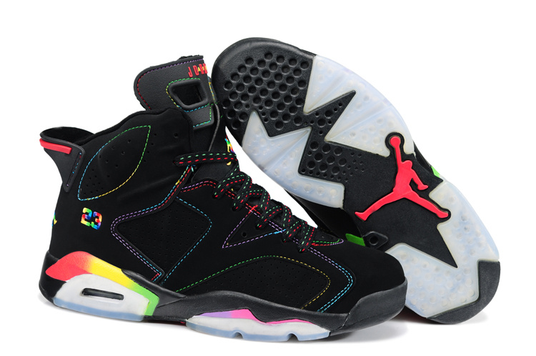 New Air Jordan 6 Black Colorful Shoes