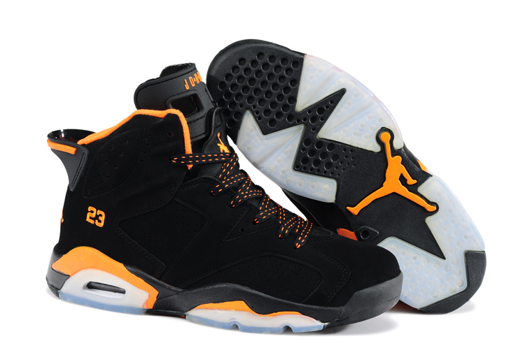 New Air Jordan 6 Black Orange Shoes