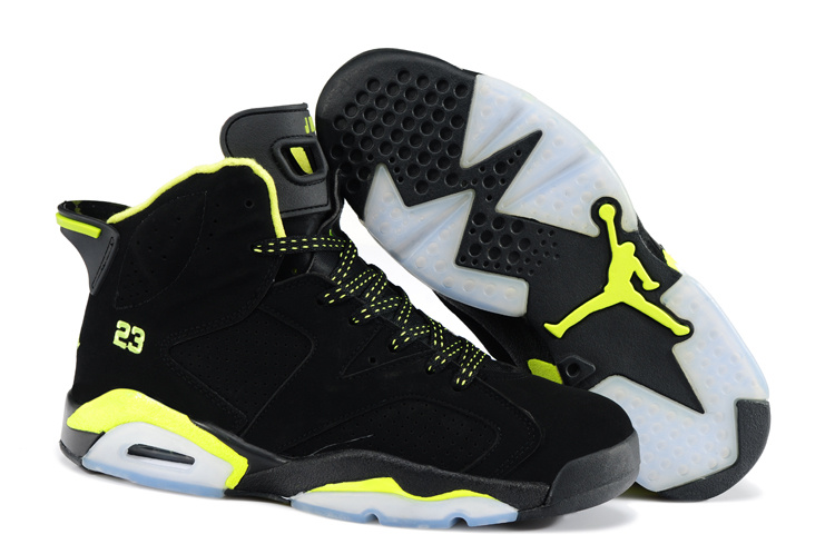 New Air Jordan 6 Black Yellow Shoes