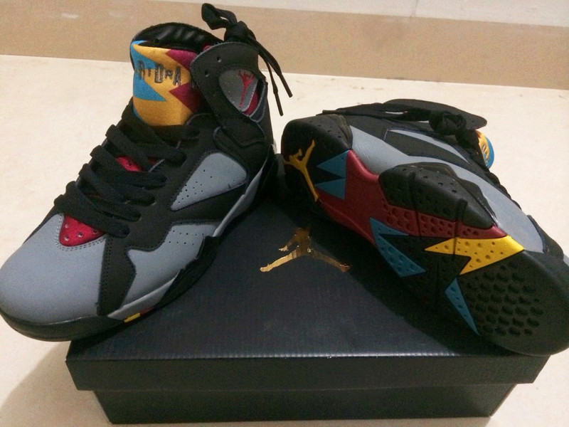 New Air Jordan Retro 7 Grey Black Red Yellow Shoes