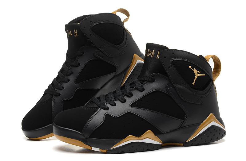 New Air Jordan Retro 7 Black Gold Shoes