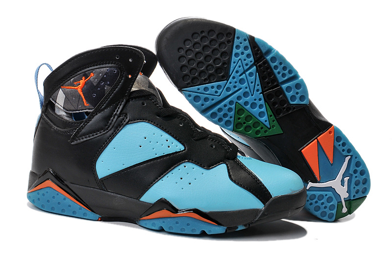New Air Jordan Retro 7 Black Green Orange Shoes