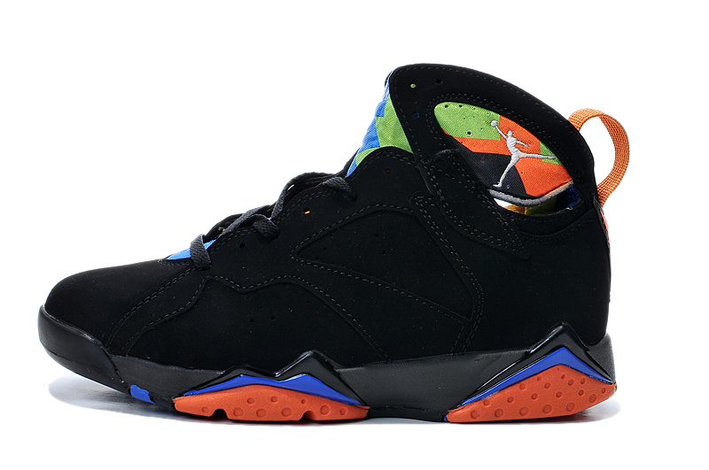 New Air Jordan Retro 7 Black Orange Blue Shoes