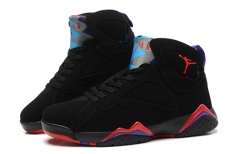 New Air Jordan Retro 7 Black Red Blue Shoes