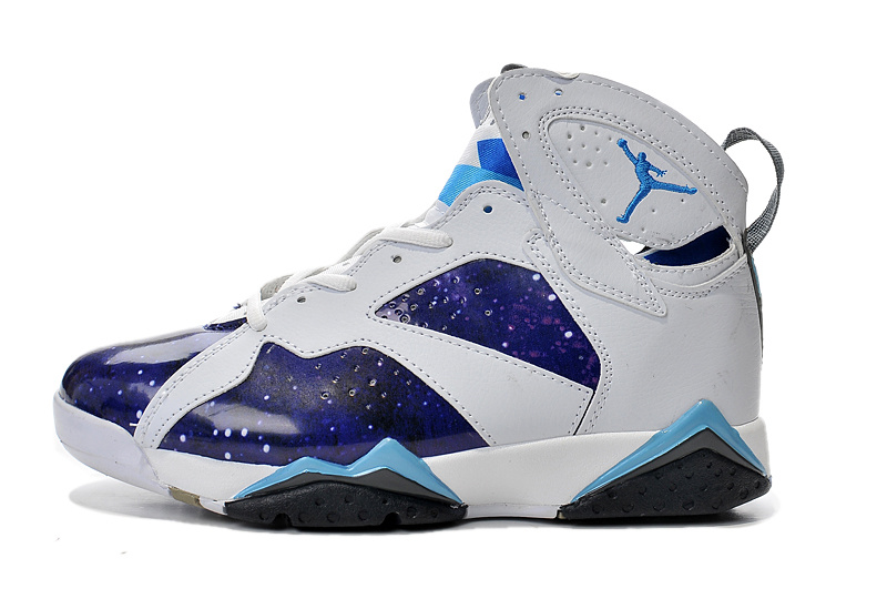 New Air Jordan Retro 7 Purple White Light Blue Shoes