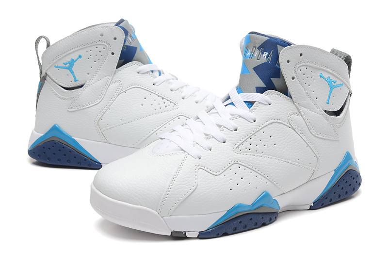 New Air Jordan Retro 7 White Baby Blue Shoes