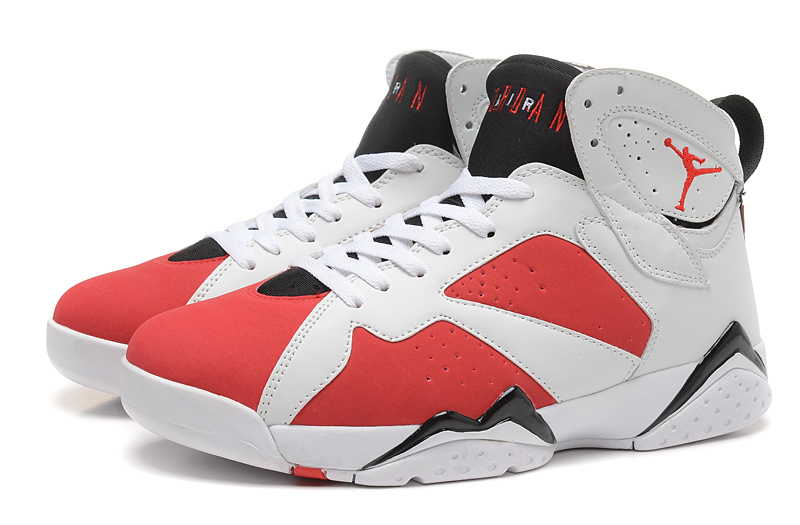 New Air Jordan Retro 7 White Red Black Shoes