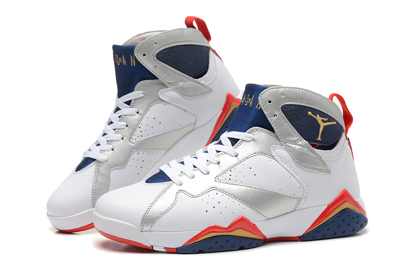 New Air Jordan Retro 7 White Silver Blue Red Shoes