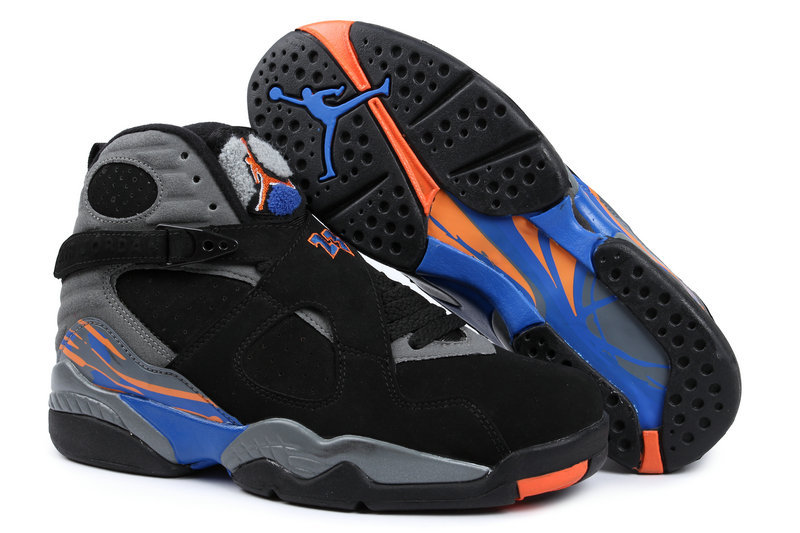 Cheap 2015 Air Jordan 8 Retro Black Grey Blue Orange Shoes
