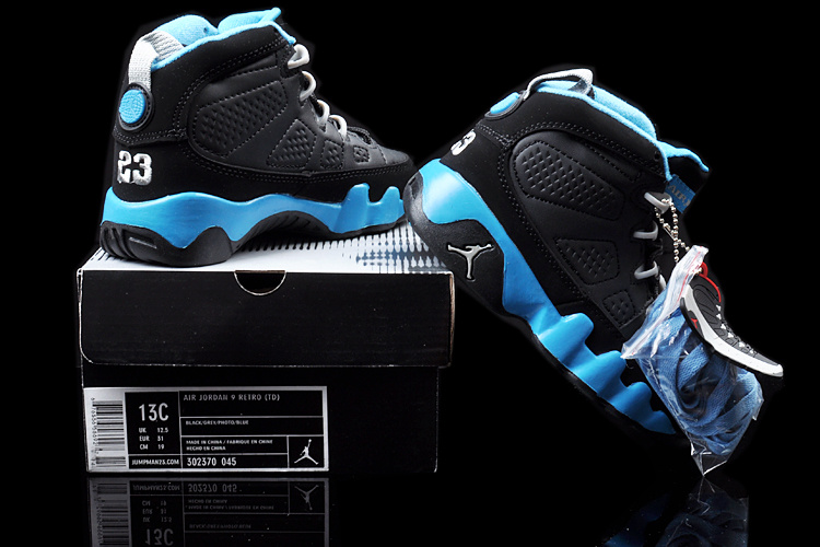 Air Jordan 9 Black Blue For Kids