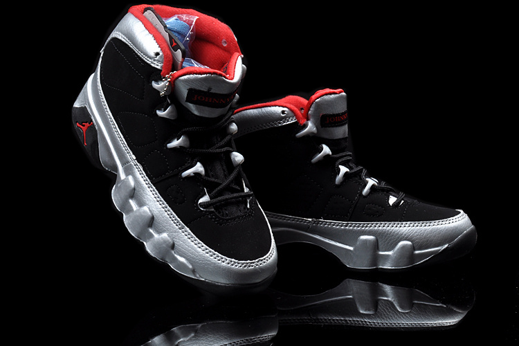 Air Jordan 9 Black Silver Red For Kids