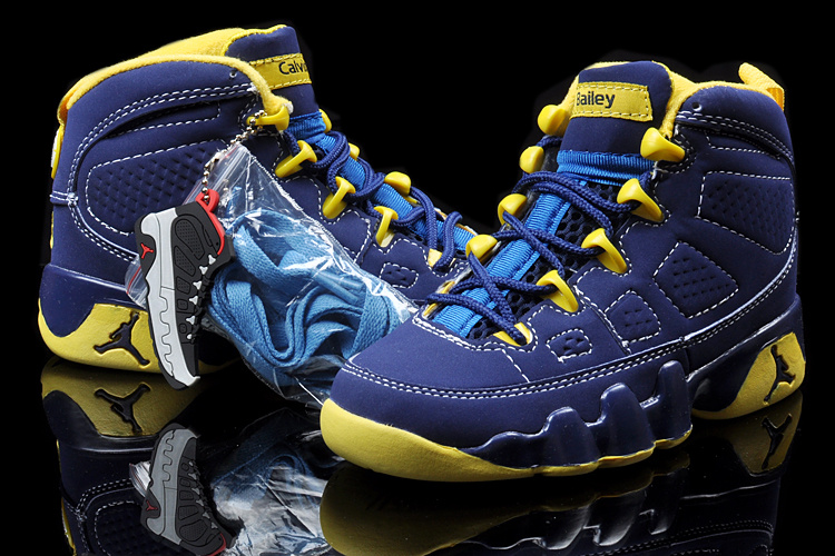 Air Jordan 9 Blue Yellow For Kids