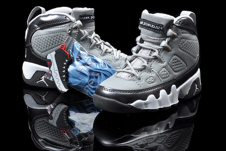 Air Jordan 9 Grey Black White For Kids