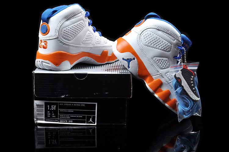 Air Jordan 9 White Blue Orange For Kids