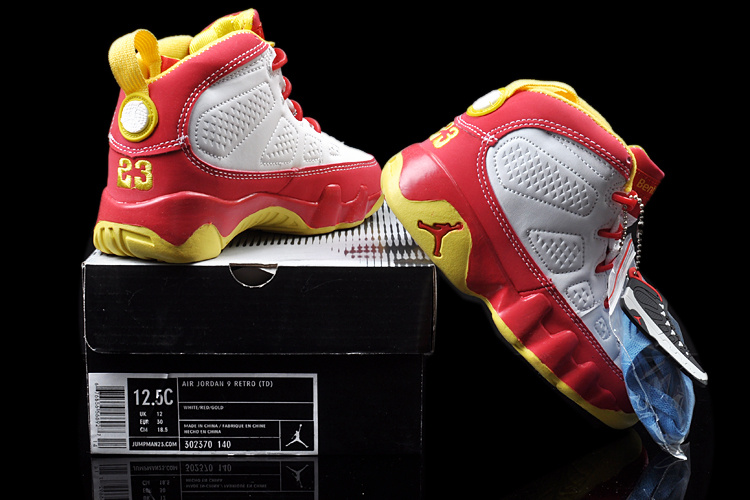 Air Jordan 9 White Red Yellow For Kids