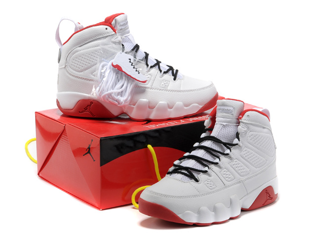 Authentic Jordan 9 White Red Shoes