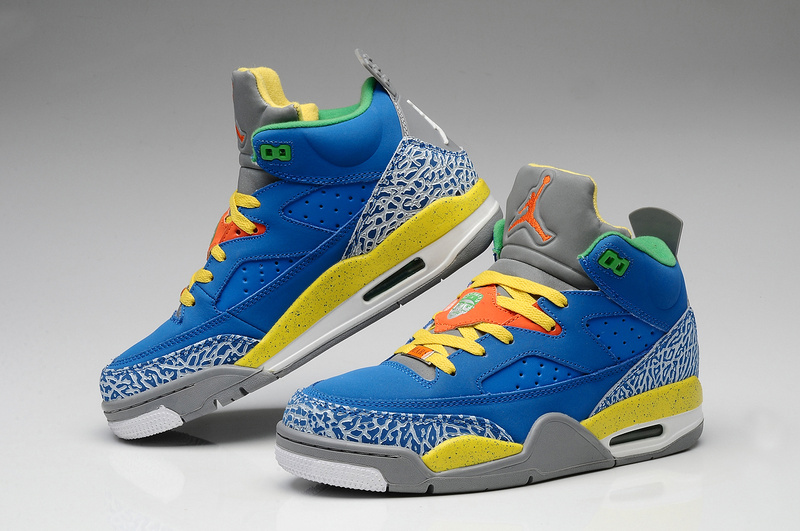 New Air Jordan Spizike Blue Grey Yellow White Shoes