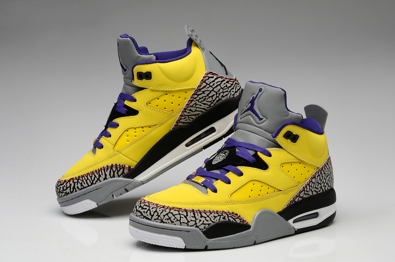 New Air Jordan Spizike Yellow Grey Cement Black Shoes