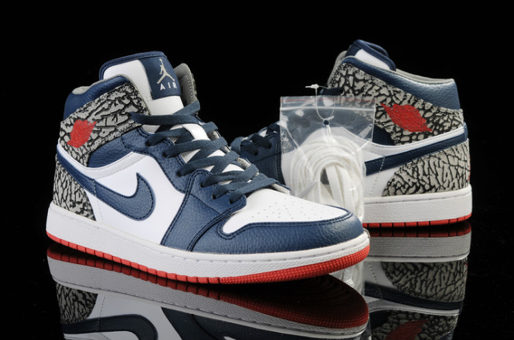 New Crack Jordan 1 Independence Day White Blue Red Shoes