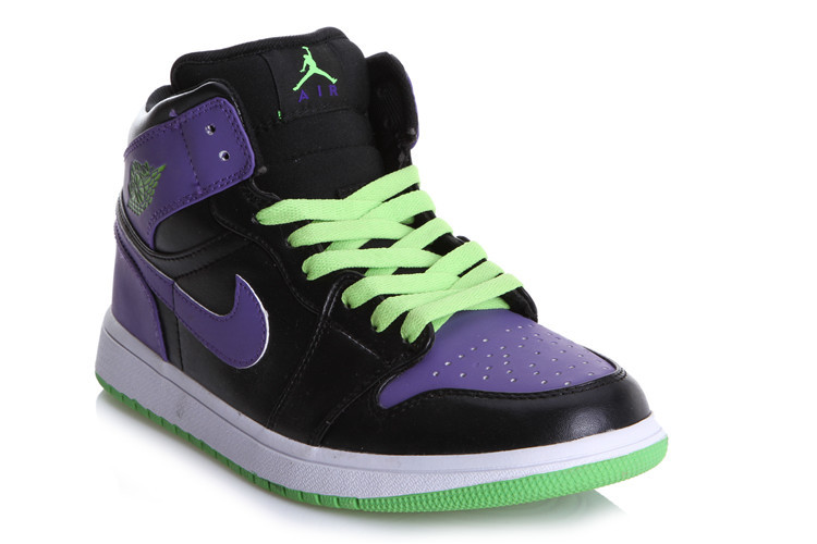 New Jordan 1 Black Purple Green Shoes