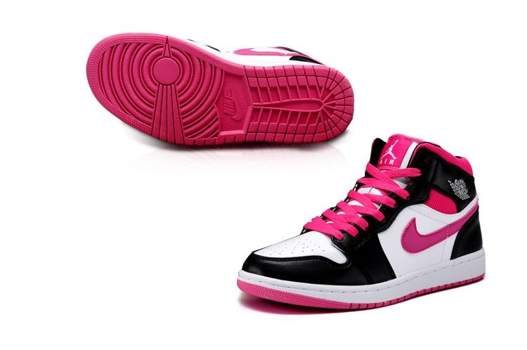 New Jordan 1 Mid Grey White Black Peach Pink Shoes