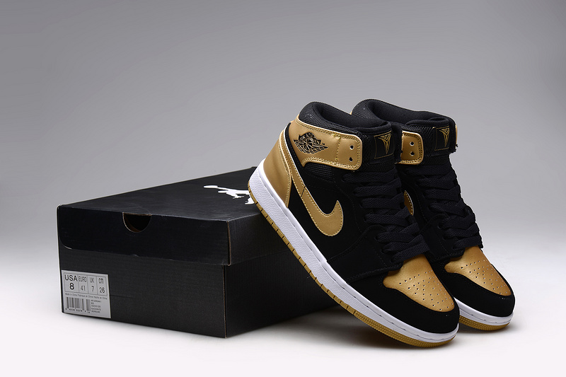 New Air Jordan 1 Retro Anthony Black Gold Shoes