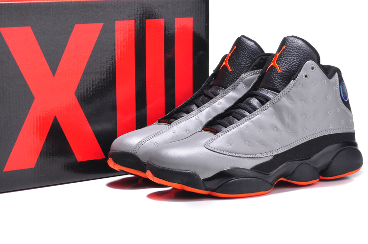 New Jordan 13 Retro 3M Grey Black Orange Shoes