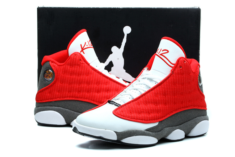 New Jordan 13 Retro White Red Grey Shoes