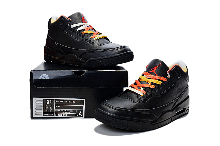 Cheap 2015 Air Jordan 3 Retro Black Colorful Shoes