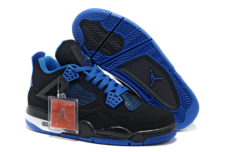 New Air Jordan Retro 4 Black Blue