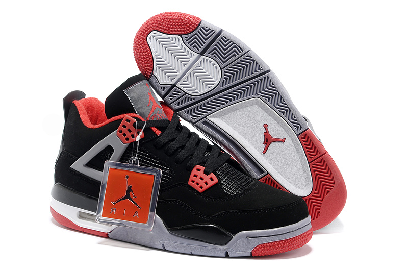 New Air Jordan Retro 4 Black Grey Red