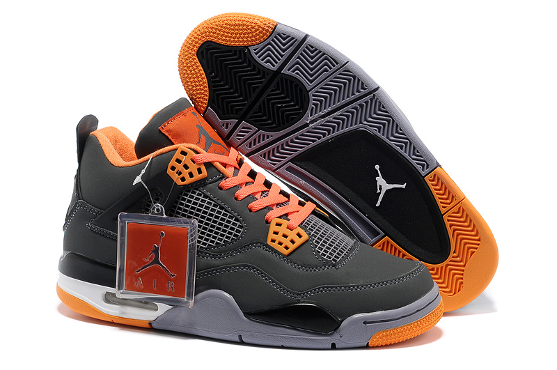 New Air Jordan Retro 4 Grey Orange