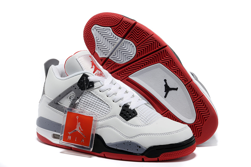 New Air Jordan Retro 4 White Black Red