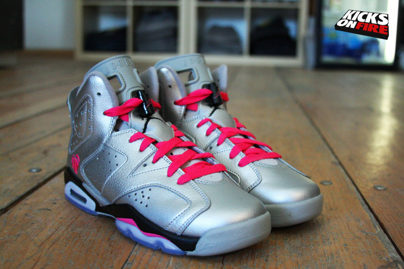 New Jordan 6 Retro Valentine Silver Black Red Shoes