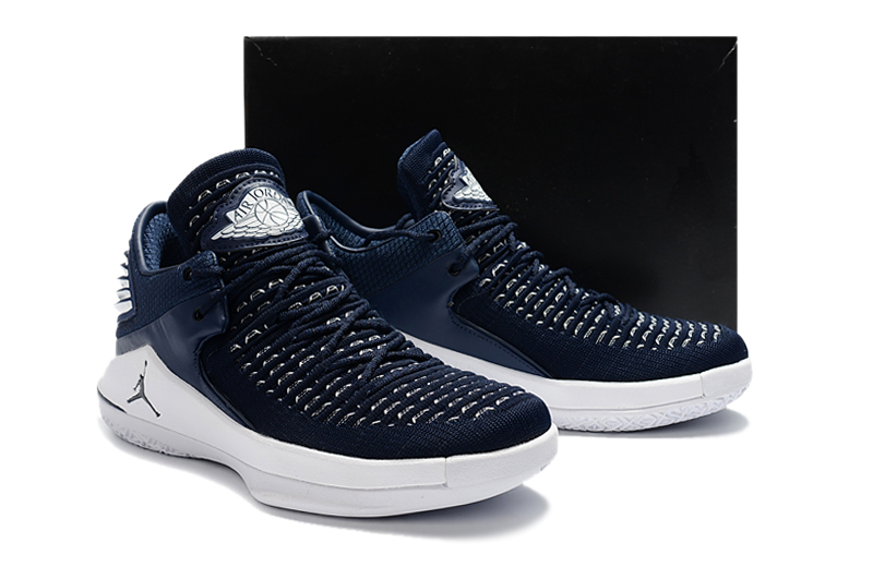 New Men Air Jordan XXXII Deep Blue White Shoes