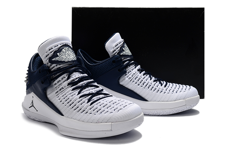 New Men Air Jordan XXXII White Deep Blue Shoes