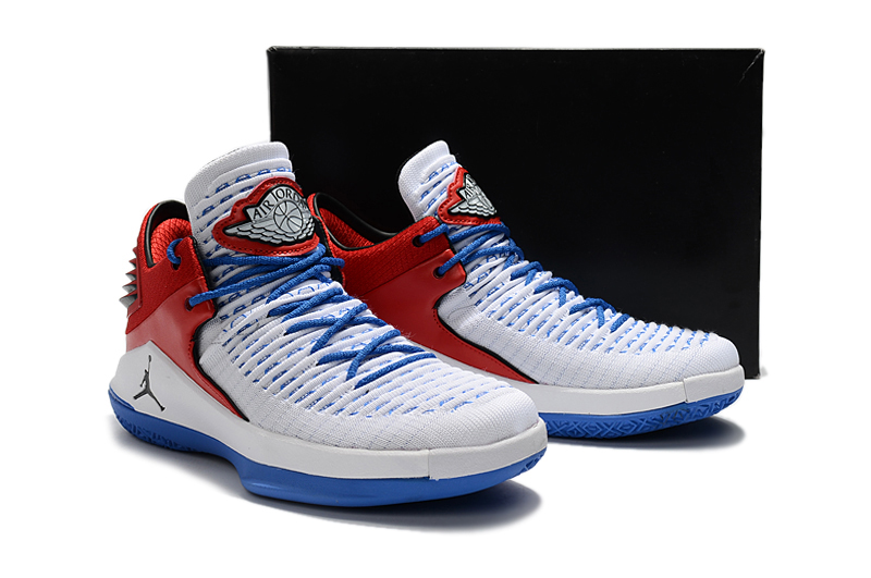 New Men Air Jordan XXXII White Red Blue Shoes