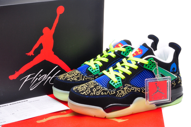 New Midnight Jordan 4 Superman Black Gold Blue Yellow Green Shoes