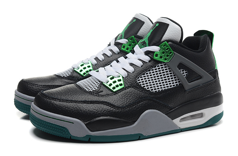 New Retro Jordan 4 Oregon Duck Black White Green Shoes