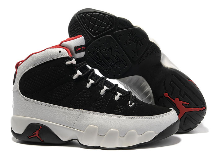 Newest Air Jordan 9 Retro Black White Varsity Red