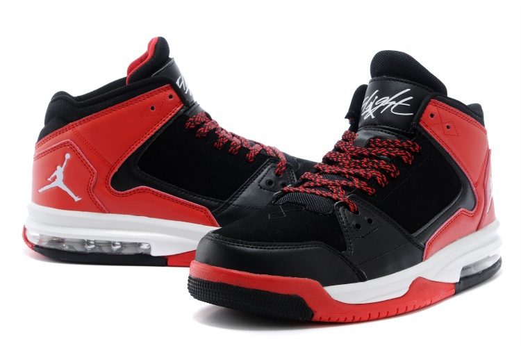 Nike Jordan Flight Origin Dark Black Red White Basketball Shoes