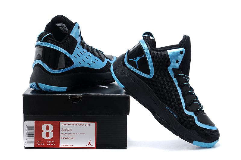 Nike Jordan Super Fly 2 Po X Black Blue Basketball Shoes