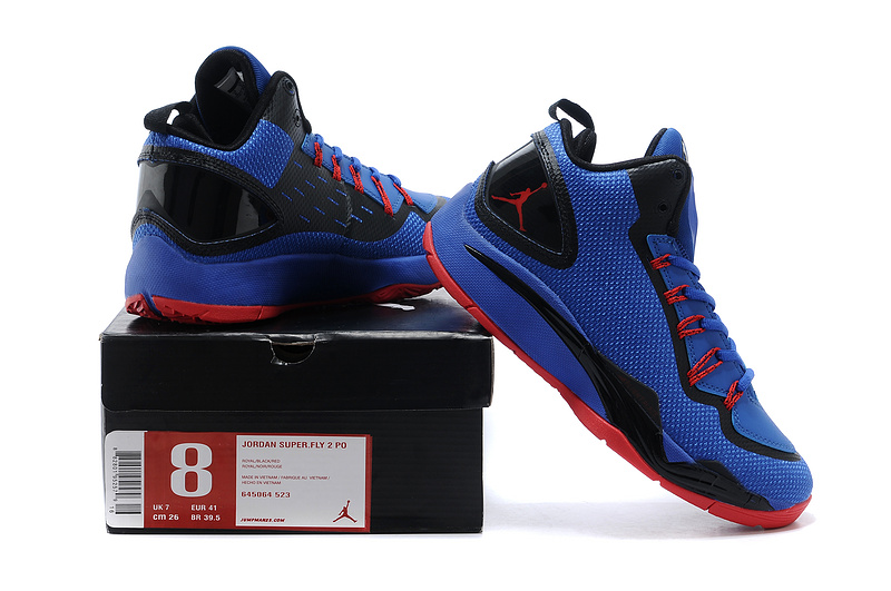 Nike Jordan Super Fly 2 Po X Blue Black Red Basketball Shoes