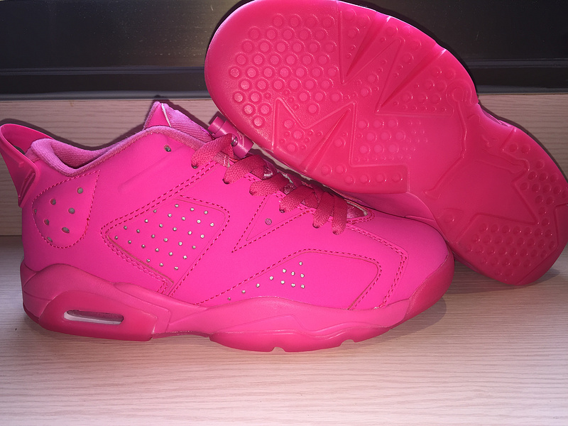 2015 Real Air Jordan 6 Low All Pink Shoes