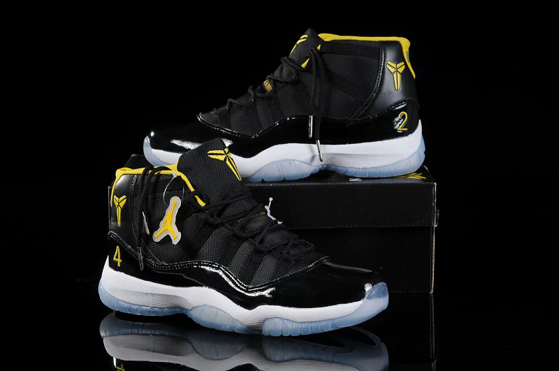 Special Kobe Air Jordan 11 Black White Yellow Shoes