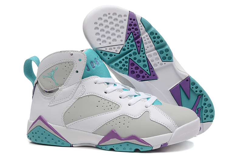 2015 RealPainted Eggshell Air Jordan 7 White Grey Green For Women
