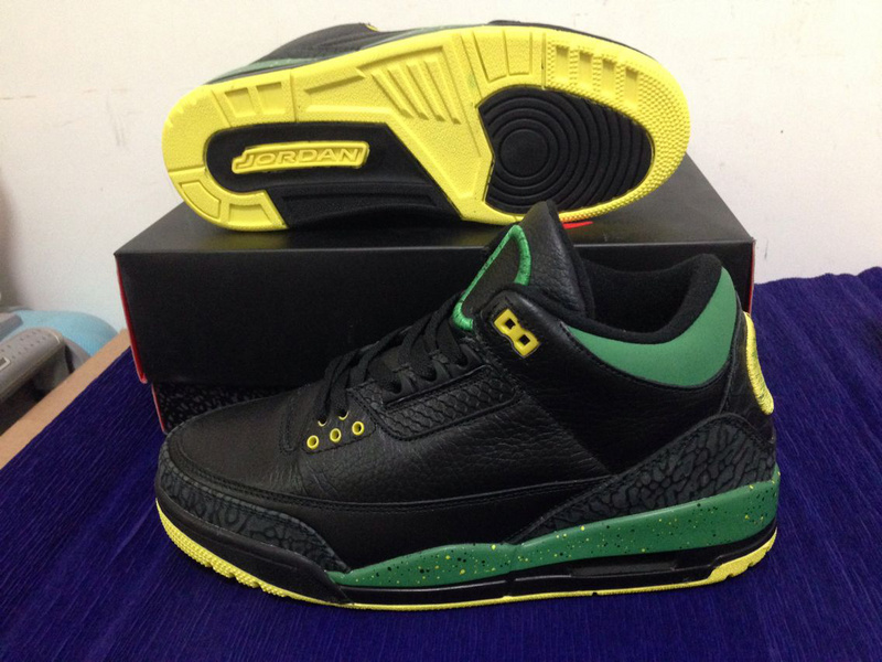 Retro Jordan 3 Oregon Ducks The Big O Black Green Yellow Shoes