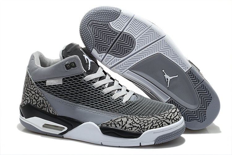 2015 Air Jordan Flight Club 80S Grey Black White Shoes